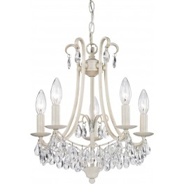 Mini Chandelier Antique Cream And Clear