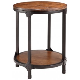 Kirstin Wood & Metal Round End Table
