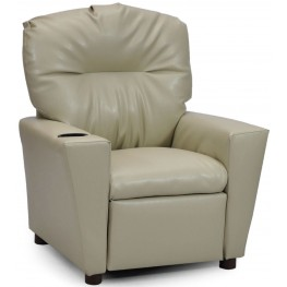 Juvenile Tan Kids Recliner with Cup Holder