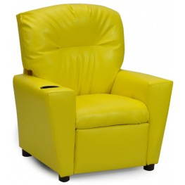 Juvenile Yellow Kids Recliner with Cup Holder