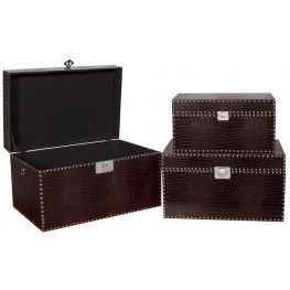 Dark Brown Faux Crocodile Chest Set of 3