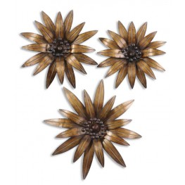 Golden Gazanias Metal Wall Art, Set of 3