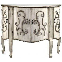 Coffer Creamy Gray 4 Door Accent Cabinet