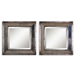 Davion Squares Silver Mirror Set of 2