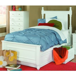 Morelle White Twin Bed with Twin Trundle