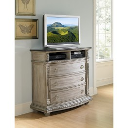 Palace II White Wash Marble Top Tv Chest