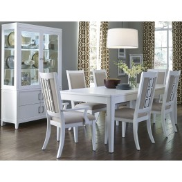 Brighton White Rectangular Extendable Leg Dining Room Set