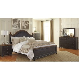 Maxington Black and Reddish Brown Panel Bedroom Set
