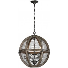 Renaissance Invention Brown Wood And Wire Small Chandelier
