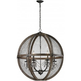 Renaissance Invention Brown Wood And Wire Large Chandelier