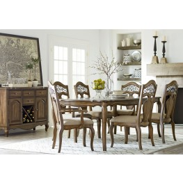 Monterey Caramel Brown Pine Extendable Rectangular Leg Dining Room Set