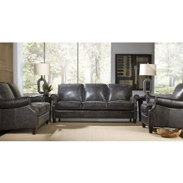 Nathan Charcoal Leather Living Room Set