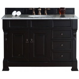 """Brookfield 48"""" Antique Black Single Vanity With 2Cm Carerra White Marble Top"""