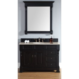 "Brookfield 48"" Antique Black Single Vanity With 2Cm Galala Beige Marble Top"