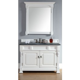 "Brookfield 48"" Cottage White Single Vanity With 2Cm Black Granite Top"