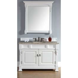 "Brookfield 48"" Cottage White Single Vanity With 2Cm Santa Cecilia Granite Top"
