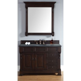 "Brookfield 48"" Burnished Mahogany Single Vanity With 2Cm Black Granite Top"