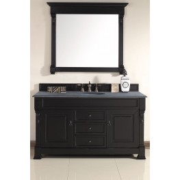 "Brookfield 60"" Antique Black Single 2CM Top Vanity Set"