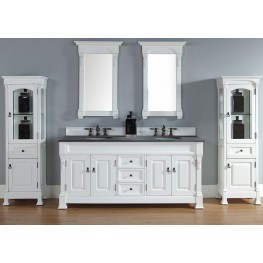 "Brookfield 72"" Cottage White Double Vanity With 2Cm Black Granite Top"