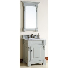 "Brookfield 26"" Urban Gray Single Vanity With 2Cm Carerra White Marble Top"