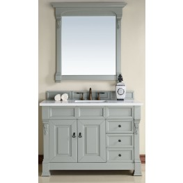 "Brookfield 48"" Urban Gray Single Vanity With 3Cm Snow White Quartz Top"