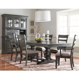 Garrison Burnished Grey Extendable Trestle Dining Room Set