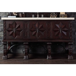 """Balmoral 60"""" Antique Walnut Single Vanity With 4Cm Galala Beige Marble Top"""