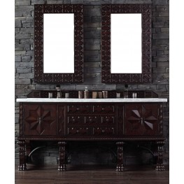 "Balmoral 72"" Antique Walnut Double Vanity With 4Cm Carerra White Marble Top"