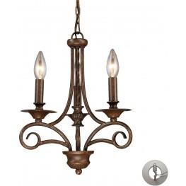 15041-3-LA Gloucester Weathered Bronze 3 Light Chandelier