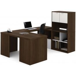 150858-78 i3 Tuxedo and Sandstone U-Shaped desk