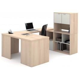 150858-38 i3 Northern Maple and Sandstone U-Shaped Desk