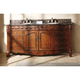 "St. James 72"" Cherry Double Vanity With Granite Top"