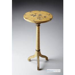 Yellow Floral Pedestal Table