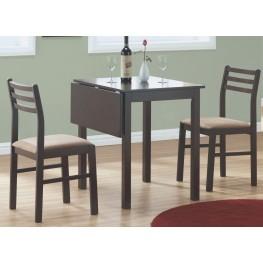 1078 Cappuccino 3Pcs Drop Leaf Extendable Dining Set