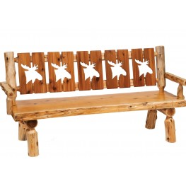 "Cedar 72"" Cut-out Back & Armrests Log Bench"