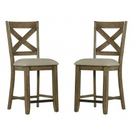Omaha Weathered Burnished Grey X-Back Counter Height Barstool Set of 2