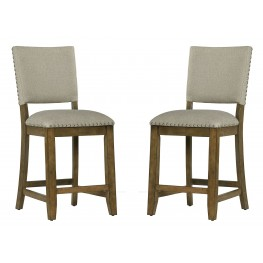 Omaha Weathered Burnished Grey Upholstered Counter Barstool Set of 2