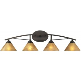 Elysburg Oiled Bronze And Tea Stained Brown Glass 4 Light Vanity