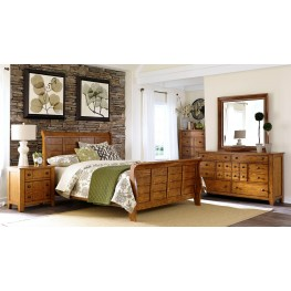 Grandpa's Cabin Aged Oak Sleigh Bedroom Set