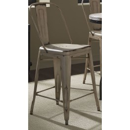 Vintage Weathered Gray White Bow Back Counter Chair Set of 2