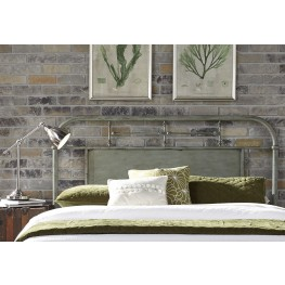 Vintage Distressed Green King Metal Headboard
