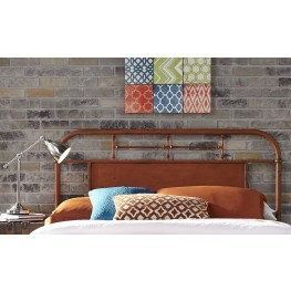 Vintage Distressed Orange Full Metal Headboard