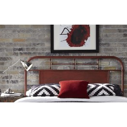 Vintage Distressed Red King Metal Headboard