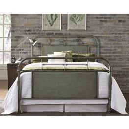 Vintage Distressed Green Full Metal Bed