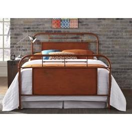 Vintage Distressed Orange Full Metal Bed