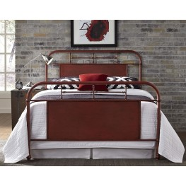 Vintage Distressed Red Twin Metal Bed
