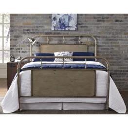 Vintage Distressed White Twin Metal Bed