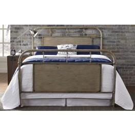 Vintage Distressed White Full Metal Bed