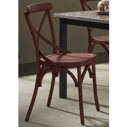 Vintage Red X Back Side Chair Set of 2