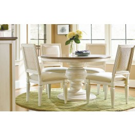 Summer Hill Cotton Single Round Pedestal Extendable Dining Room Set
